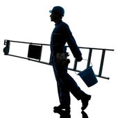 Repair man worker ladder walking silhouette — Stock Photo