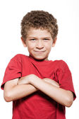 Little boy portrait frown sulk — Stock Photo