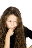 Little girl portrait pucker mistrust thinking — Stock Photo