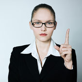 Teacher nanny business woman pointing up finger — Stock Photo