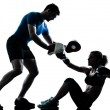 Man woman boxing training silhouette — Stockfoto