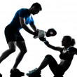 Man woman boxing training silhouette — Stock Photo #36711327
