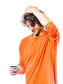 Young man holding credit card portrait — Stock Photo