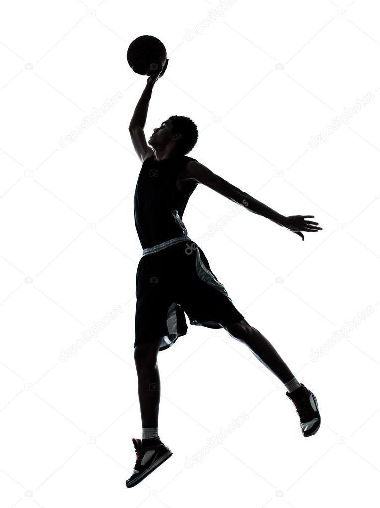 Sagoma dunking di pallacanestro giocatore foto stock - Immagini stampabili di pallacanestro ...