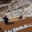 Stock Photo: Women working at Maras salt mines