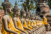 Aligned buddha statues — Stock Photo