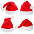 Set of red Santa Claus hats — 图库照片