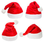Set of red Santa Claus hats — Stock Photo