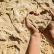 Heart from sand — Stock Photo