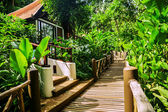 The wooden road about tropical hotel — Stock Photo