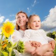 Mother child open land - Stock Photo