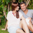 Real estate garden couple — Stock Photo