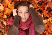 Beauty autumn female — Stock Photo