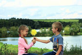 A boy gives a flower to the girl — Stock Photo