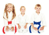 Cheerful young children to sit in a ceremonial kimono karate pose — Stock Photo