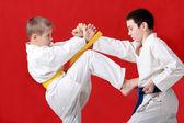 Blockera händerna och blåsa sparkar utför idrottsman med gult bälte mot en idrottsman med ett blått bälte — Stockfoto