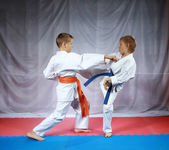 Two small athletes are training paired exercises karate — Stock Photo