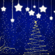 Stock Photo: New year background with stars and christmas tree.
