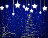 New year background with stars and christmas tree. — 图库照片