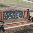 Bench with the inscription — Stock Photo