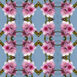 Stock Photo: Seamless peach flowers pattern.