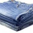 Stock Photo: Stack of jeans.