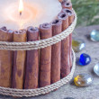 Foto de Stock  : Christmas candle made from vanillsticks