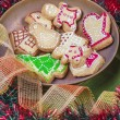 Gingerbread cookies  and chrismas decorations — Stock Photo