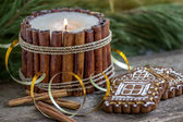 Christmas cookies with a candle made from vanilla sticks — Stock Photo