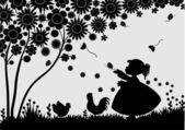 Girl with butterflies — Stock Vector