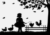 Girl with birds — Stock Vector