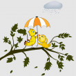 Birds under umbrella — Vector de stock #13590637
