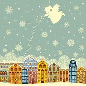 Inverno in città — Vettoriale Stock