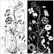 Stock Vector: Black and white flowers