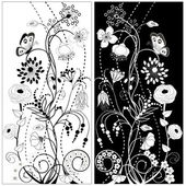Black and white flowers — Stock Vector