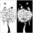 Stock Vector: Black and white trees
