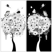 Black and white trees — Stock Vector