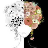 Woman floral silhouette — Stock Vector