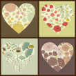 Stock Vector: Floral hearts