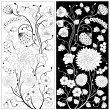 Vector de stock : Black and white flowers