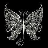 White butterfly on black background — Stock Vector