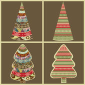 Set of abstract Christmas trees — Stock Vector