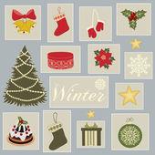 рождественские иконки — Cтоковый вектор