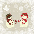 Stock Vector: Christmas card snowman