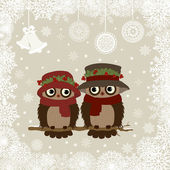 Christmas card a branch with owls — Stock Vector