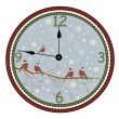 Christmas clock with bird on branch — Stock Vector