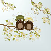 Owls on branch — Stock Vector