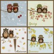 Owls in four seasons- spring, summer, autumn, winter — Stock Vector #37192157