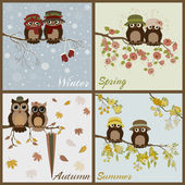 Owls in four seasons- spring, summer, autumn, winter — Stock Vector