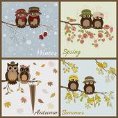Owls in four seasons- spring, summer, autumn, winter — Stock Vector